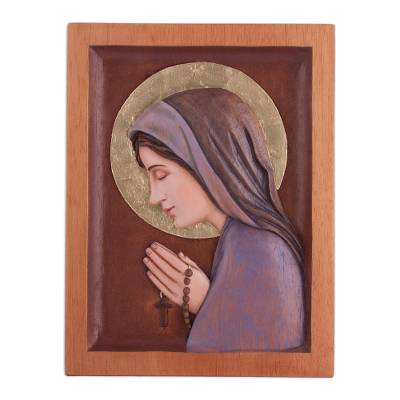 Cedar relief panel, 'Saint of Devotion' - Hand-Carved Cedar Wood Relief Panel of Mary from Peru