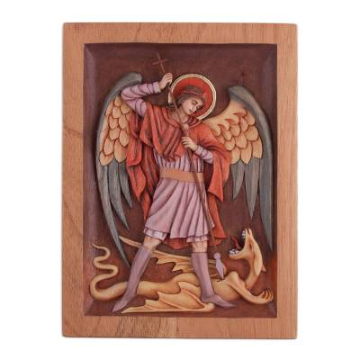 Cedar relief panel, 'Archangel Saint Michael' - Cedar Wood Relief Panel of Saint Michael from Peru