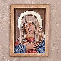 Cedar relief panel, 'Peaceful Virgin' - Cedar Wood Relief Panel of the Virgin Mary from Peru