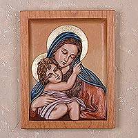 Cedar relief panel, 'Beautiful Love' - Cedar Wood Relief Panel of Mary and Jesus from Peru