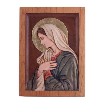 Cedar relief panel, 'Meditating Virgin' - Hand-Painted Cedar Wood Relief Panel of Mary from Peru