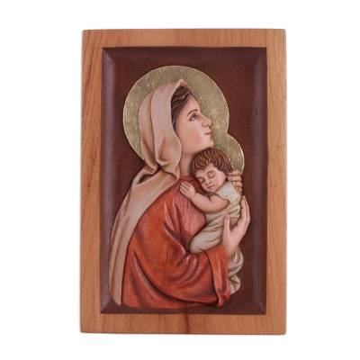 Cedar relief panel, 'Caring Virgin' - Hand-Painted Cedar Relief Panel of Mary and Jesus from Peru