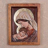 Cedar relief panel, 'Loved Mother' - Cedar Wood Wall Relief Panel of Mary and Jesus from Peru