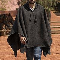 Men's alpaca blend hooded poncho, 'Highlands Grey' - Graphite Grey Alpaca Blend Hooded Poncho for Men