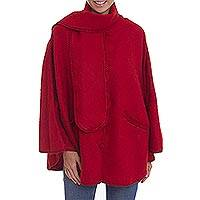 Alpaca blend cape, 'Mountain Getaway in Crimson' - Red Alpaca Blend Cape with Scarf from Peru
