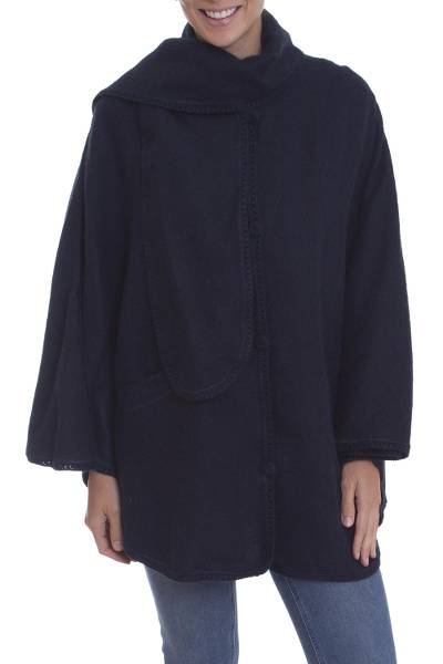 Alpaca blend cape, 'Mountain Getaway in Navy' - Navy Blue Alpaca Blend Cape with Scarf from Peru