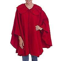 Alpaca blend cape, 'Red Divine' - Alpaca Acrylic Wool Blend Collared Red Cape with Buttons