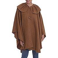 Alpaca blend cape, 'Divine in Spice' - Spice Brown Alpaca Blend Cape with Collar from Peru