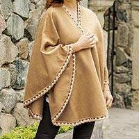 Alpaca blend ruana, 'Cozy Holiday in Tan' - Tan Alpaca Blend Ruana from Peru
