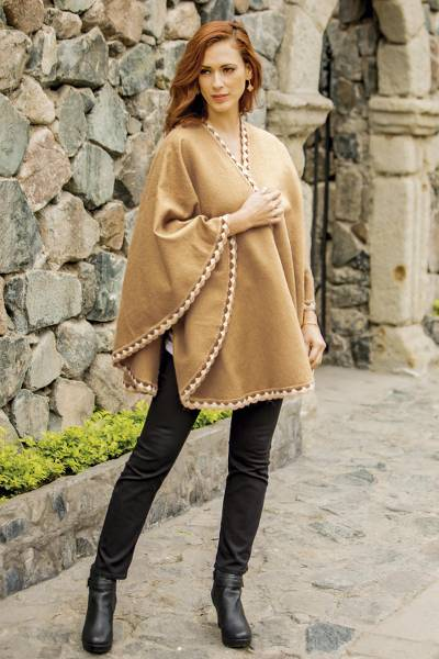 Alpaca blend ruana, Cozy Holiday in Tan