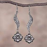 Sterling silver dangle earrings, 'Floral Waves' - Wavy Floral Sterling Silver Dangle Earrings from Peru