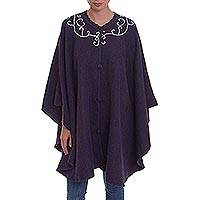 Alpaca blend cape, 'Iris Dreams' - Woven Alpaca Blend Cape in Iris