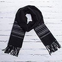 Men's alpaca blend scarf, 'Andean Clouds in Black' - Artisan Crafted Woven Black Alpaca Blend Scarf for Men
