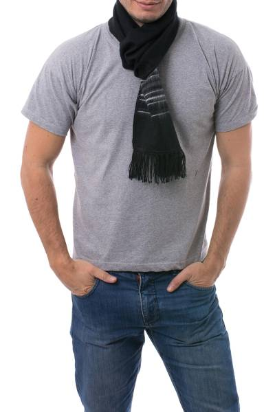 Artisan Crafted Woven Black Alpaca Blend Scarf for Men