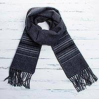 Men's alpaca blend scarf, 'Andean Clouds in Charcoal' - Fair Trade Woven Dark Gray Alpaca Blend Scarf for Men