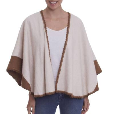 Sepia Alpaca Blend Ruana with Crocheted Accents