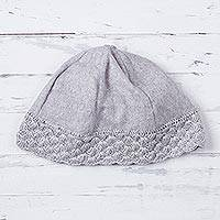 Alpaca blend beanie, 'Chic Pearl Grey' - Women's Pearl Grey Alpaca Blend Beanie Hat with Crochet Trim