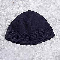 Alpaca blend beanie, 'Chic Navy' - Alpaca Blend Women's Navy Blue Beanie Hat with Crochet Trim