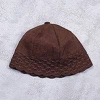 Alpaca blend beanie, 'Chic Chestnut' - Alpaca Blend Chestnut Brown Crochet Trim Beanie Hat