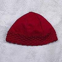 Alpaca blend beanie, 'Chic Apple Red' - Women's Alpaca Blend Apple Red Beanie Hat with Crochet Trim