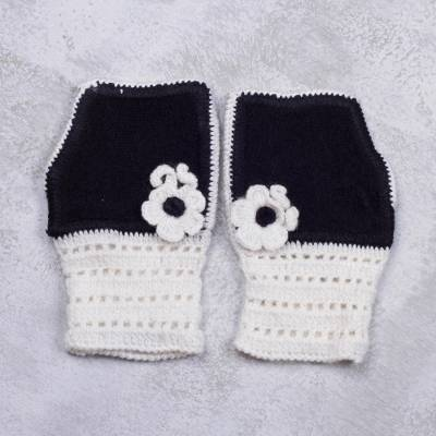 Alpaca blend fingerless mitts, Enchanted Light