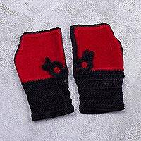 Alpaca blend fingerless mitts, 'Cozy Flowers in Paprika' - Alpaca Blend Fingerless Mitts in Paprika from Peru