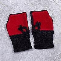 Alpaca blend fingerless mitts,