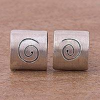 Sterling silver button earrings, 'Hypnotic Gaze' - Spiral Motif Sterling Silver Button Earrings from Peru