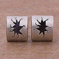 Sterling silver button earrings, 'Splash' - Abstract Sterling Silver Button Earrings from Peru