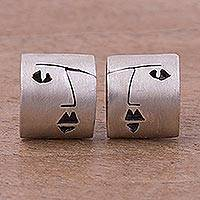 Sterling silver button earrings, 'Feminine Profile' - Face Motif Sterling Silver Button Earrings from Peru