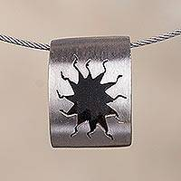 Sterling silver pendant necklace, 'Splash' - Abstract Sterling Silver Pendant Necklace from Peru