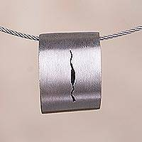 Sterling silver pendant necklace, 'Lightning Flash' - Modern Sterling Silver Pendant Necklace from Peru