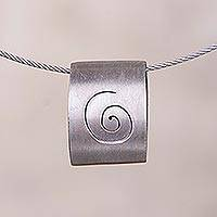 Sterling silver pendant necklace, 'Hypnotic Gaze' - Spiral Motif Sterling Silver Pendant Necklace from Peru