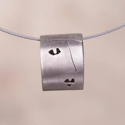 Sterling silver pendant necklace, 'Feminine Profile' - Face Motif Sterling Silver Pendant Necklace from Peru