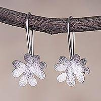 Sterling silver drop earrings, 'Flowering' - Handcrafted Sterling Silver Flower Earrings from Peru