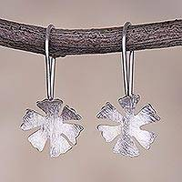 Sterling silver drop earrings, 'Petals of Spring' - Floral Sterling Silver Drop Earrings from Peru