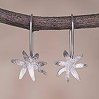 Sterling silver drop earrings, 'Vibrant Flowers' - Brushed-Satin Floral Sterling Silver Earrings from Peru