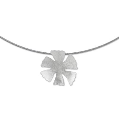 Floral Sterling Silver Pendant Necklace from Peru