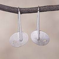 Sterling silver drop earrings, 'Ellipsis' - Sterling Silver Drop Earrings with Oval Shapes from Peru