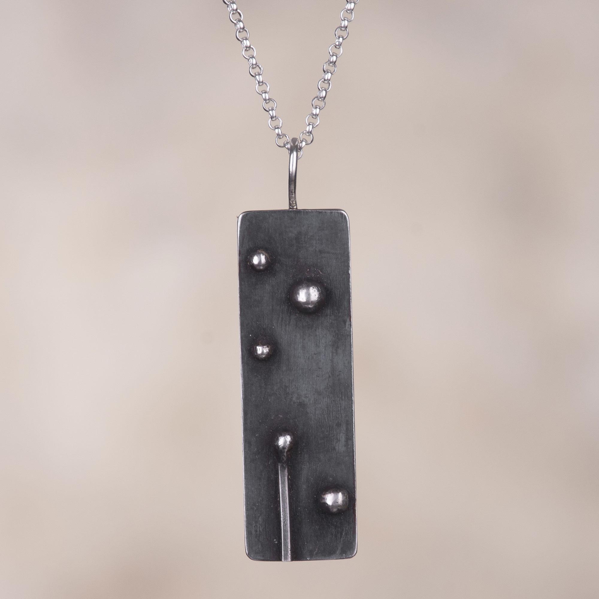 Oxidised silver geometric necklace