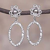 Sterling silver dangle earrings, 'Floral Ovals' - Oval Sterling Silver Dangle Earrings from Peru