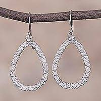 Sterling silver dangle earrings, 'Droplet Dance' - Drop-Shaped Sterling Silver Dangle Earrings from Peru