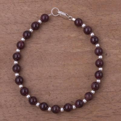 Garnet Beaded Bracelet Malbec Vintage And Sterling Silver From