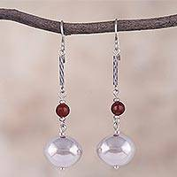 Carnelian dangle earrings, 'Fiery Harmony' - Carnelian and Sterling Silver Dangle Earrings from Peru
