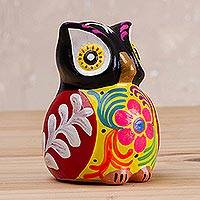 Ceramic incense burner, 'Dark Floral Owl' - Floral Ceramic Owl Incense Burner in Black from Peru