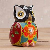 Ceramic incense burner, 'Floral Owl in Black' - Floral Ceramic Owl Incense Burner in Black from Peru