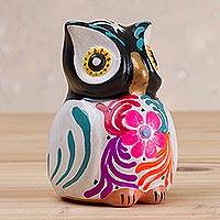 Ceramic incense burner, 'Floral Owl' - Multicolored Floral Ceramic Owl Incense Burner from Peru