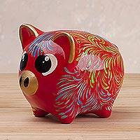 Ceramic piggy bank, 'Sweet Pig in Red' (large) - Floral Ceramic Piggy Bank in Red (Large) from Peru