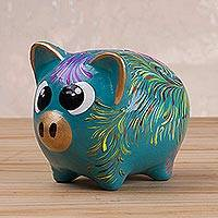 Ceramic piggy bank, 'Sweet Pig in Turquoise' (3.3 inch) - Floral Ceramic Piggy Bank in Turquoise (3.3 inch) from Peru