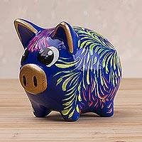 Ceramic piggy bank, 'Sweet Pig in Blue' (2.8 inch) - Floral Ceramic Piggy Bank in Blue (2.8 inch) from Peru